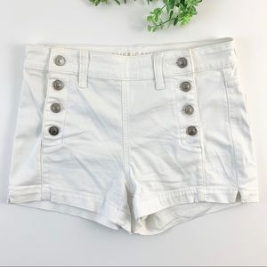 American Eagle White Button Hi-Rise Sailor Shorts